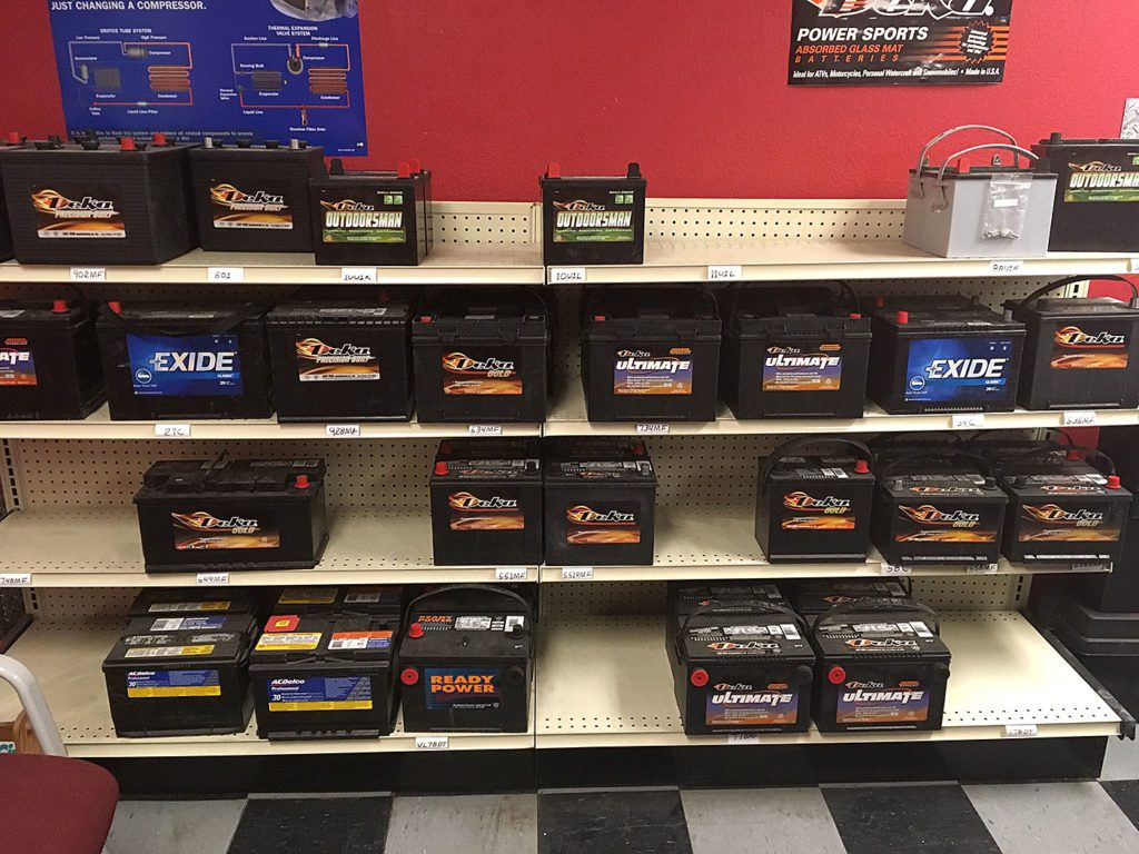 Aisle of batteries